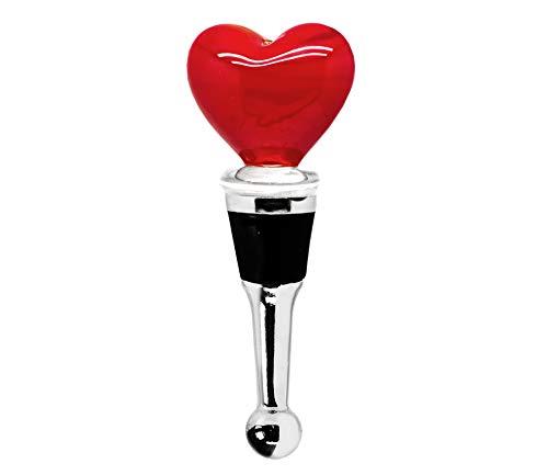 EDZARD Flaschenverschluss Herz für Champagner, Wein und Sekt, Höhe 10 cm, Muranoglas, Handarbeit