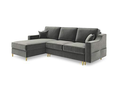 Canapé d'angle 4 places Gris Velours