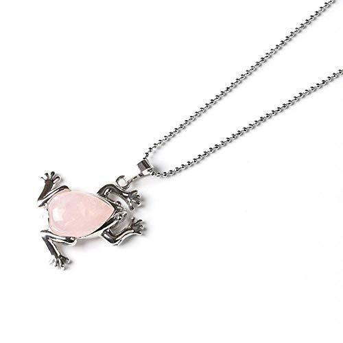 Stone Necklace,Vintage Elegant Rose Quartz Frog Shape Pendant Silver Unisex Bead Chain Men Women Energy Balance Birthstone Gem Jewelry Gifts