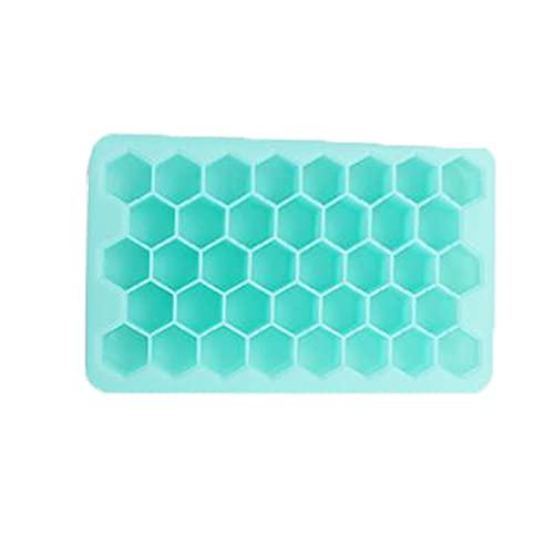 Nuevo molde para cubitos de hielo de silicona con forma de panal, caja pequeña para cubitos de hielo para el hogar, molde para chocolate, molde para dulces con pudín de gelatina(Color:Azul verde)
