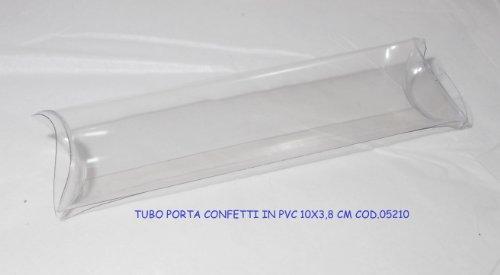 Lot de 10 contenants à dragées, transparents, en PVC et en forme de tube - Dimensions : 10 x 3,8 cm