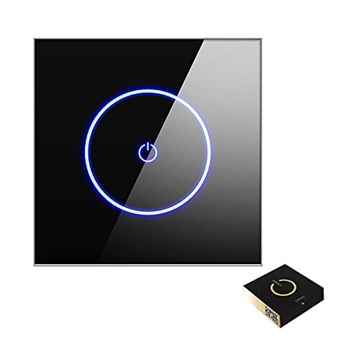 MEILINL Interruptor De Sensor Táctil WiFi Inteligente (se Requiere Línea Neutra) para Cortina Eléctrica Y Interruptores De Luz De Pared con Panel De Vidrio Templado