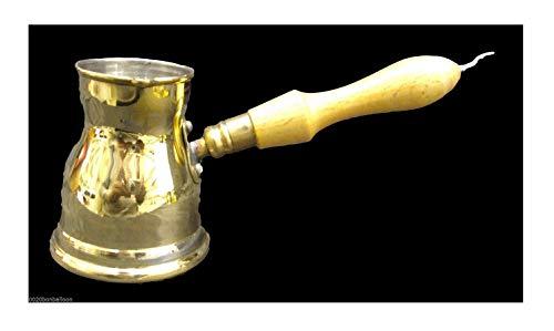 1 Messing-Kupfertopf Ibrik Briki Türkischer griechischer Kaffeemaschine Jazva Cezve Jezve Turka Ararat Arabisch mit Holzgriff handgehämmert handgefertigt ägyptische Dekanter Größe Nr. 2 (80 ml)