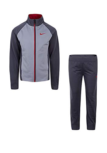 Nike Boy's Dri-Fit Tracksuit (Dark Grey(86E132-G1A)/Red, 6)