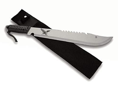KOSxBO Survival Machete mit integrierter Säge, Gesamtlänge 50 cm inklusive Nylontasche, Arbeitsmachete mit Fallschirmleine - Robuste Gartenmachete, schwarz Silber