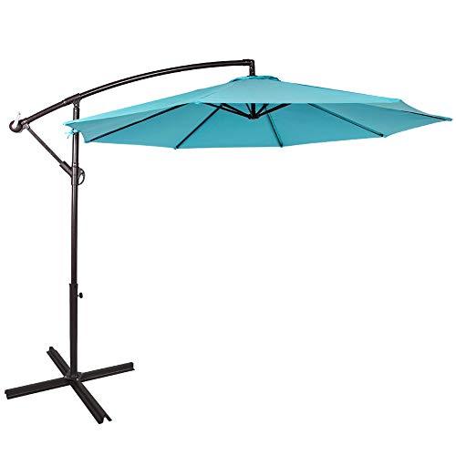 Sundale Outdoor 10 Feet Aluminum Offset Patio Umbrella with Crank and Cross Bar Set, Cantilever Umbrella for Deck, Garden, Backyard, 8 Steel Ribs, 100% Polyester Canopy Shade Lake blue