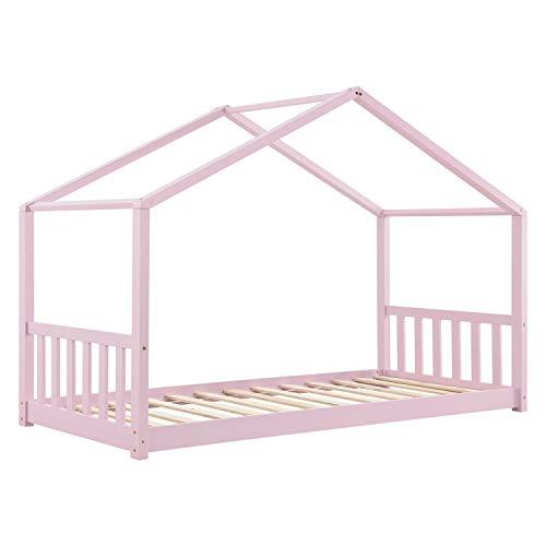 ArtLife Kinderbett Paulina 90 x 200 cm mit Lattenrost und Dach - Bett für Kinder aus massivem Holz - Hausbett in Rosé