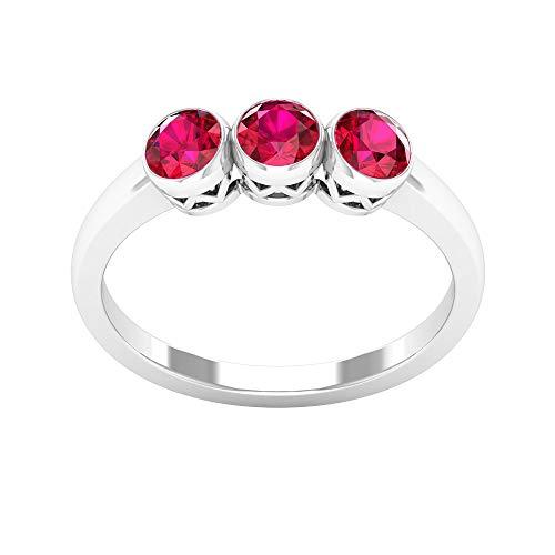 Anillo de tres piedras de rubí certificado SGL de 1,02 ct, piedras preciosas para mujer, anillo de compromiso clásico de dama de honor, anillo único de aniversario de boda, 14K Oro blanco, Size:EU 58