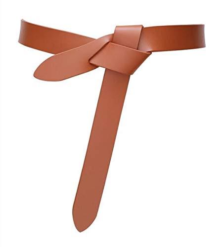 WYDHYQD Lo Nuevo Cinturones diseño del Nudo for Las Mujeres de Piel Suave Real Anudada Correa del cinturón de Largo los Accesorios Originales de Vestido de señora Pretinas