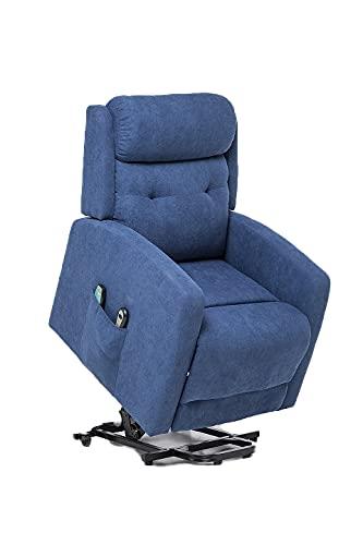 Sillón Relax y Masaje, Sillón Función Power Lift, Sillón reclinable con función Masaje Modelo Rondo SX AF80590S (Azul)