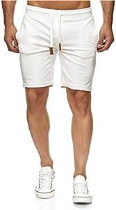 Indicode - Pantalones cortos de chándal Aldrich con interior de forro polar y cordón blanco roto S