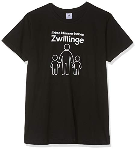 Texlab Echte Männer Haben Zwillinge - Herren T-Shirt, Größe L, Schwarz