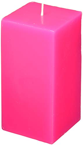 Zest Candle Pillar Candle, 3 by 6-Inch, Hot Pink Square