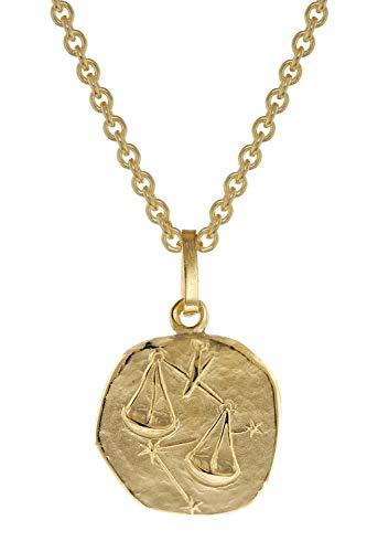trendor Sternzeichen für Kinder Waage Gold 333 Anhänger + Halskette liebevoller Halsschmuck für Mädchen und Jungen, zeitlose Geschenkidee für Kids 75905-10