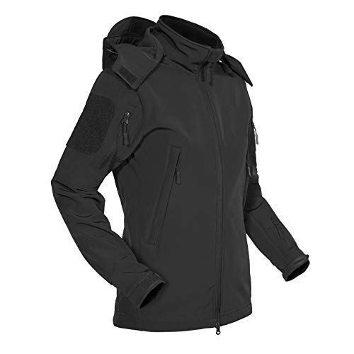 MAGCOMSEN Waterproof Jacket Women Hooded Warm Softshell Jackets for Women Rain Coats Mountain Fleece Lined Jackets Skiing Coats Hiking Jackets Military Jackets Black