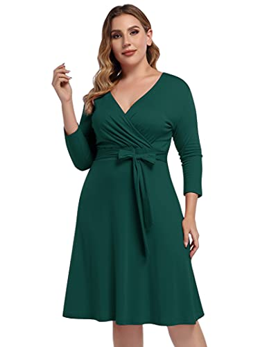 AMZ PLUS Womens V-Neck 3/4 Sleeve A Line Midi Faux Wrap Plus Size Cocktail Party Swing Dress Dark Green 2XL