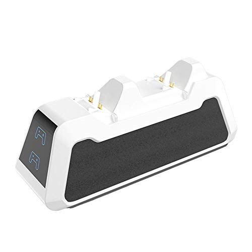 Adaskala Cargadores del Controlador PS5 con Cable USB Soporte del Controlador PS5 Estación de Carga rápida USB Doble con indicador LED Cargadores rápidos Dobles para PS5