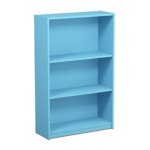 FURINNO JAYA Simple Home 3-Tier Adjustable Shelf Bookcase, Light Blue