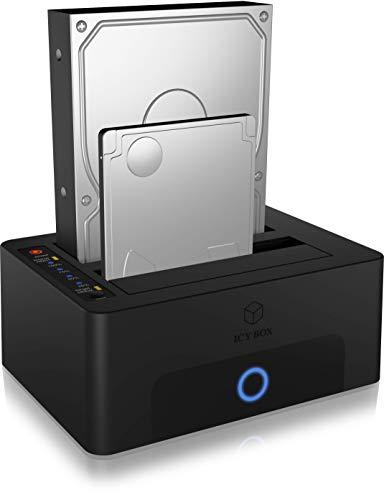 ICY BOX Dual SSD und Festplatten Docking Station USB 3.0, SATA Clone Station, Schwarz