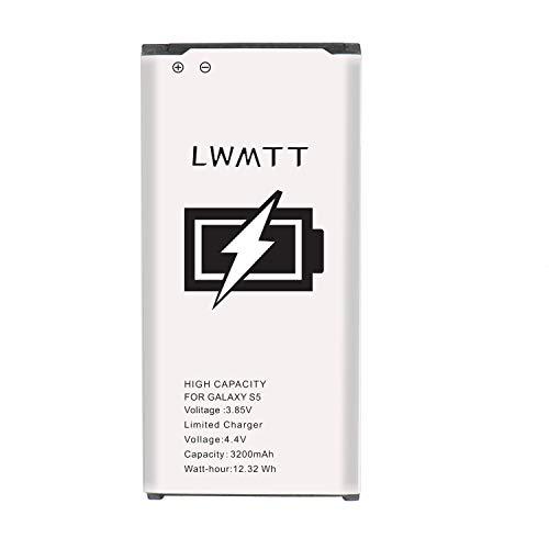 LWMTT Batería de 3200 mAh compatible con Samsung Galaxy S5. Reemplazo mejorado para Samsung S5 batería de iones de litio de repuesto con alta capacidad (sin NFC)