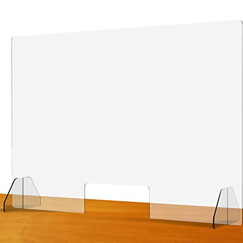 Clear Acrylic Plexiglass Sneeze Guard 36'W x 24'H - Protective Plastic Window Barrier Screen and Shield - Freestanding Portable Germ Protection Shields for Office Desk, Counter, Table and Nail Salon
