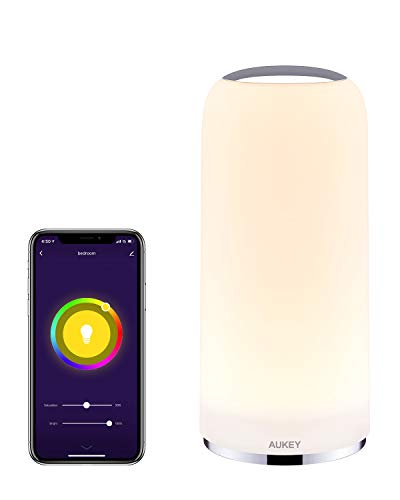 AUKEY Smart Table Lamp Works with Alexa & Google Home App Control Bedside Lamp Dimmable Warm White Light & RGB Touch Lamp for Living Room and Bedrooms