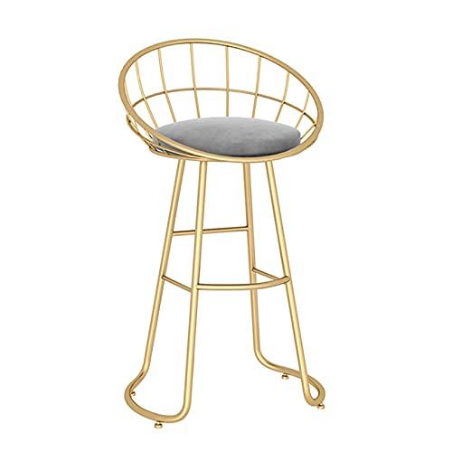 Set di 1 sgabello altezza bancone, sedie sgabello altezza bar per cucina/casa bar/pub/sala da pranzo, sedile imbottito in velluto, gambe in metallo oro/nero, bianco/grigio/verde/rosa