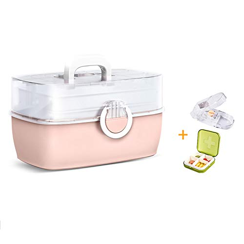 Pink Extra Large Pill Organizer For Travel, 3-layer Double Open Large Capacity Medicine Box for Children, Parents, Grandparents or Yourself(Color:B)