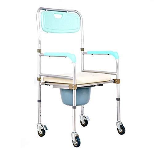 Bewegliche höhenverstellbare Aluminium-Transportkommode Dusch-Toilette mit abnehmbarer Halterung Medizinischer Rollstuhl gjh