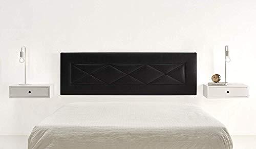 HOGAR24 R55-155 cm- Cabecero Tapizado, Válido para Cama 135-150 cm, Color Negro