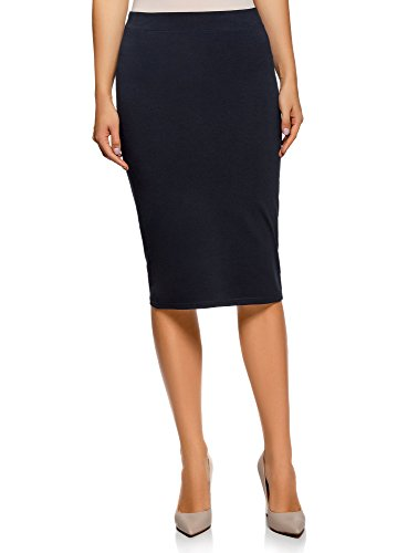 oodji Ultra Donna Gonna Basic a Tubino, Blu, IT 40 / EU 36 / XS