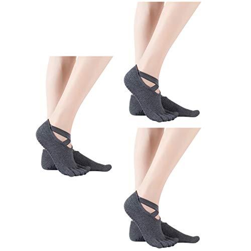 cinnamou 3 Paar Yoga Socken Ballettsocken Tanzende Socken Rutschfeste Socken Damen Toe Sox Zehensocken mit 5 Zehen Kickboxing Pilates 5 Finger Socken Anti Rutsch Socken Damen Ballett Bodensocken
