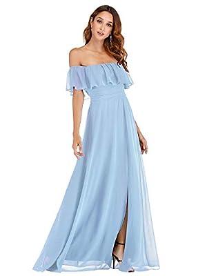 Ever-Pretty Women's Off Shoulder Summer Casual Ruffle Dress Beach Maxi Dress Blue US12