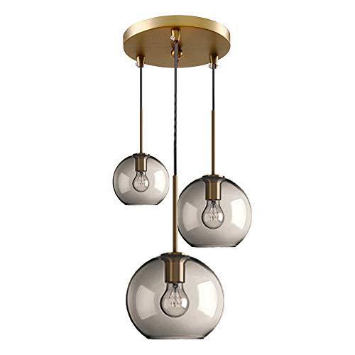 MZStech 3 Luz Lámpara colgante esférica de vidrio transparente, Globo Lámpara De vidrio Lámpara Colgante (Conjunto de tres, Gris)