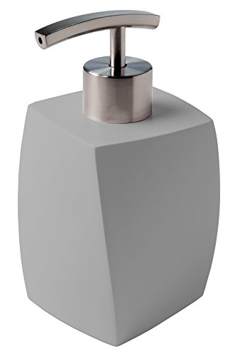 Moderner Seifenspender aus hochwertigem Kunststoff, Edelstahlpumpe, elegantes Design, Wave Grau