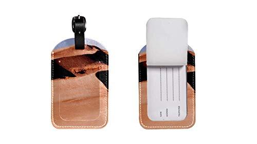 Maleta de Etiqueta de Equipaje de Cuero de PU, Correa de Cuero Ajustable Resistente a los arañazos, diseño Elegante Desert Gráficos