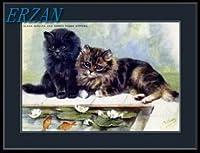 ERZANアメリカン 雑貨 アンティーク インテリア プレート ブリキ メタル 看板30x40cm英語画像ペルシャぶち子猫猫アートブリキ看板