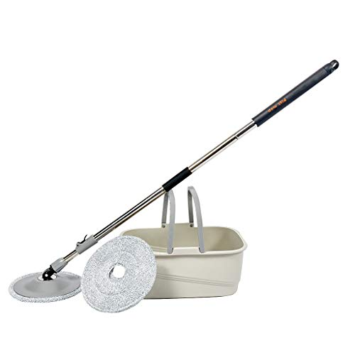 Fukasse Mop & Bucket Set Strongest Duty Mop - Best Floor Mop Easy to Use - for Professional Home Floor Cleaning System - 360 Spin Non Scratch Microfiber Wet Jet Mop w/Integrated Wringer Bucket (Grey)