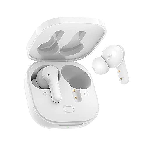 QCY T13 Auriculares inalámbricos Bluetooth 5.1, 4-Micrófonos Cancelación de Ruido ENC Llamadas claras, 30 Horas de Reproducción, Carga Rápida USB-C,Modo de sueño,Ecualizador Personalizado