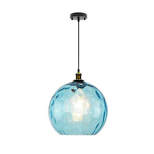 Wings of wind - lampara de Techo Moderna Diseño Industrial E27 lampara Techo Lámpara de Cristal Sombra Iluminación de Techo Azul (30cm)