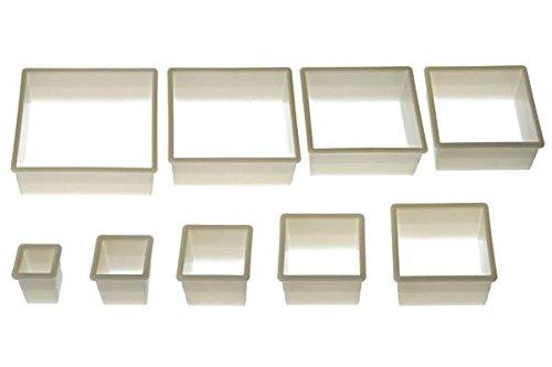 Silikomart 72.304.87.0069 Lot de 9 Emporte-Pièces Forme Carrés Blanc