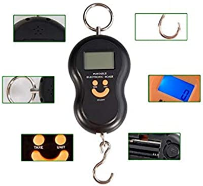 Deodap Smiley Mini Digital Scale Kitchen Scale Hanging Luggage Weighing Scale LCD Display with Green Background Light (Assorted Color)