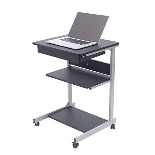 TYOP Escritorios para portátiles, Pequeño apartamento Movible Escritorio de Escritorio, cajones y estantes con rieles deslizantes, mesas de Noche de Dormitorio, Mini Mini escritorios (Color : Black)