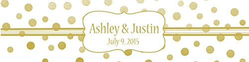 """100 Gold Confetti White Background Wedding Water Bottle Labels Engagement Party 8""""x2"""""""
