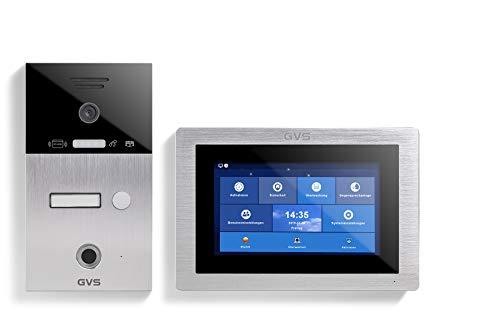 GVS IP Video Türsprechanlage, Unterputz-Türstation IP65 mit RFID und Fingerprint, 1x 7 Zoll Monitor, App, HD-Kamera 120°, Türöffner-Fkt, 32GB Speicher, PoE-Switch, 1 Familienhaus Set, AVS5102U