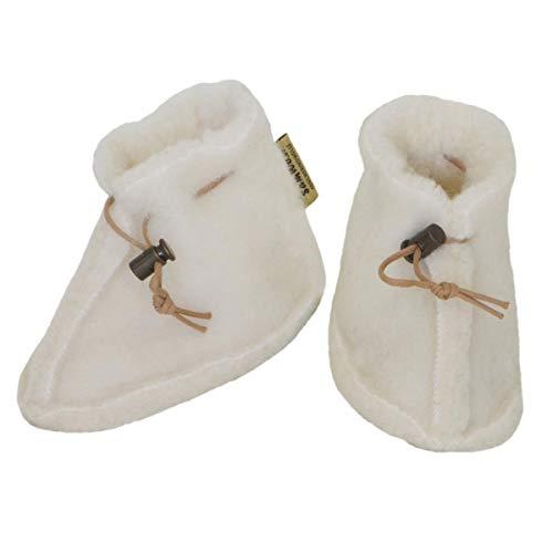 SamWo–Zapatos para bebé 100% naturales de lana de oveja, con cierre rápido blanco naturaleza Talla:M