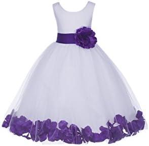 ekidsbridal White Floral Rose Petals Flower Girl Dress Birthday Girl Dress Junior Flower Girl product image