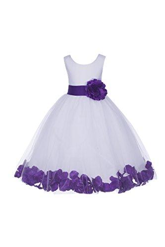 ekidsbridal White Floral Rose Petals Flower Girl Dress Birthday Girl Dress Junior Flower Girl Dresses 302s 6