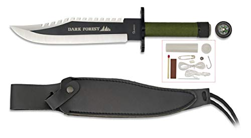 Cuchillo Supervivencia Dark Forest 21,7 para Caza, Pesca, Camping, Out