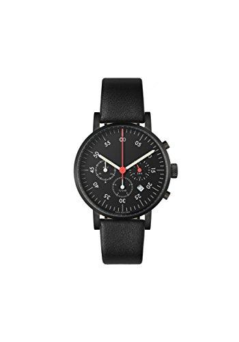 VOID Watches Uhr Chronograph mit Armband V03C-BL/BL/B Schwarzes Gehäuse & schwarzes Zifferblatt / Leder-Armband Schwarz